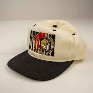Vintage 90s Ottawa Senators White Black Block Logo